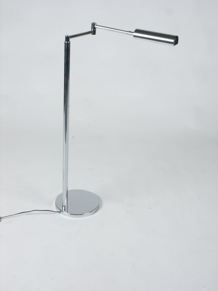 Late 20th Century In the Style of Cedric Hartman Adjustable Chrome Swing Arm Floor Lamp For Sale