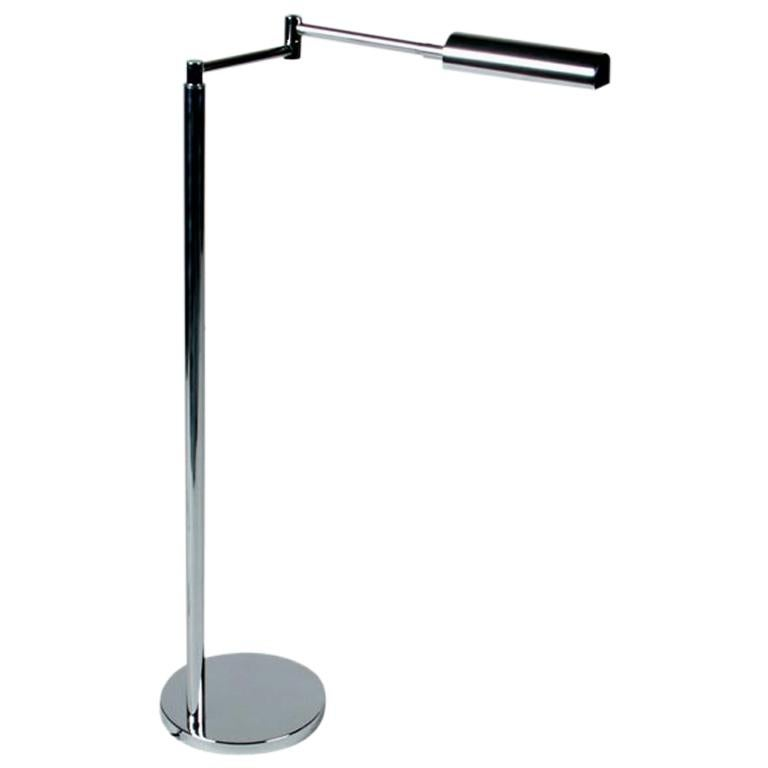 In the Style of Cedric Hartman Adjustable Chrome Swing Arm Floor Lamp For Sale