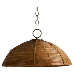 In the style of Crespi Bamboo Pendant Light, 1970s Italian