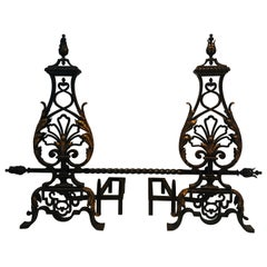 In the Style of Gilbert Poillerat, Important Pair of Wrought Iron Andirons
