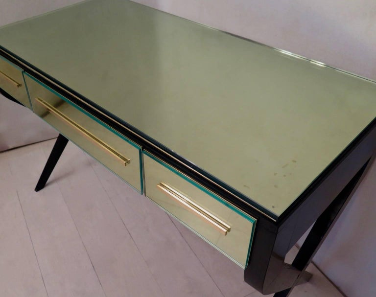 Brass In the Style of Gio Ponti Italian Desk, 1950 For Sale