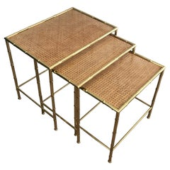 In the Style of J. Adnet & G. Crespi, Faux-Bamboo Brass Nesting Tables, 1970s