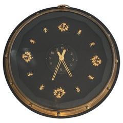 In the Style of Jacques Adnet, Black and Gilt Wall Clock, French, circa 1950