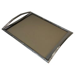 In the Style of Jacques Adnet, Faux-Bamboo Chromed Tray with Smoked Glass French