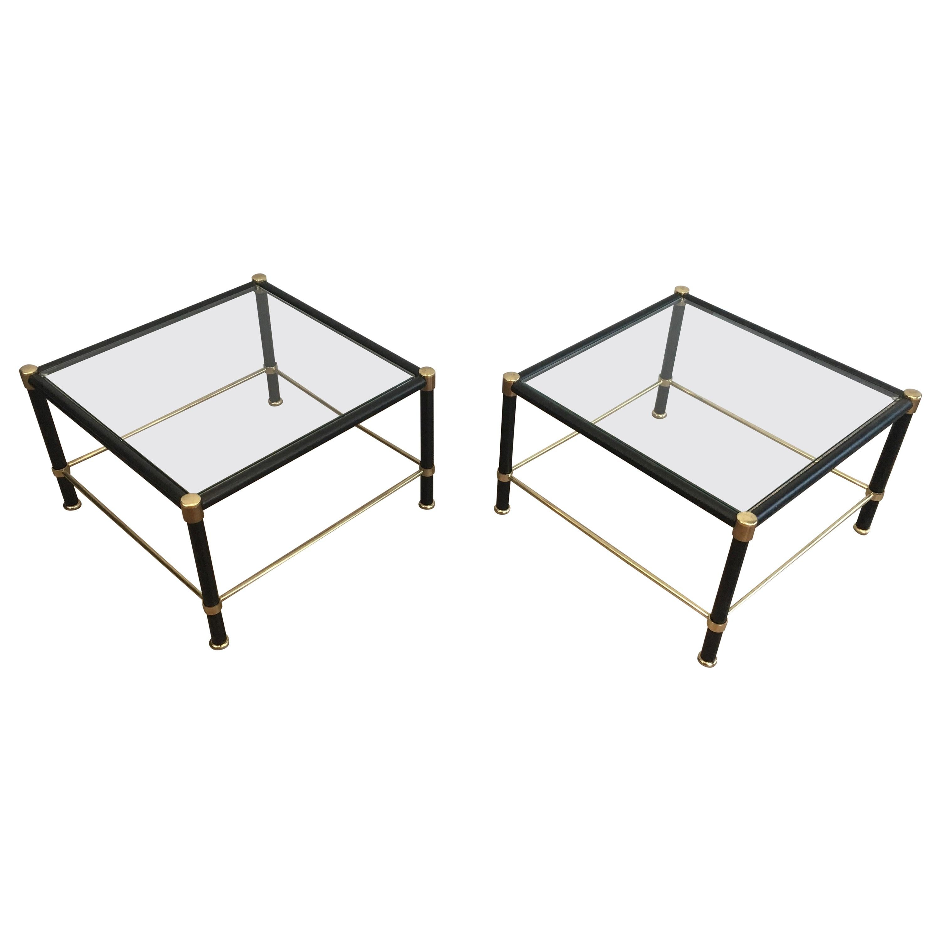 In the Style of Jacques Adnet, Pair of Brass and Black Leather Square Side