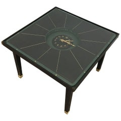 In the Style of Jacques Adnet, Rare Black Leather and Brass Small Clock Table