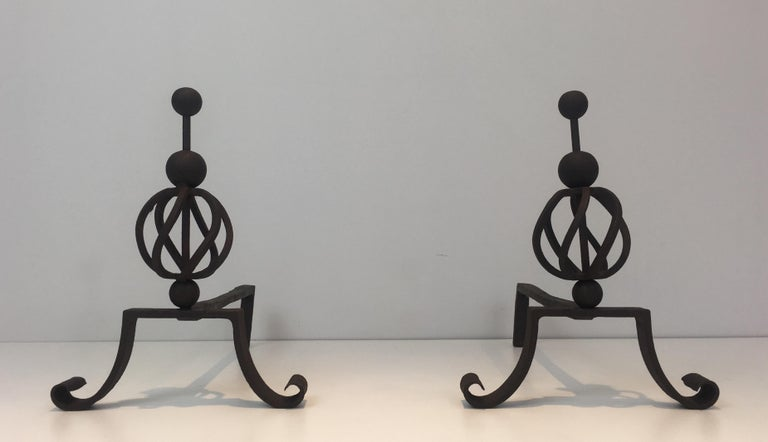 In the Style of Jean Royère. Pair of Wrought Iron Andirons, French For Sale 9