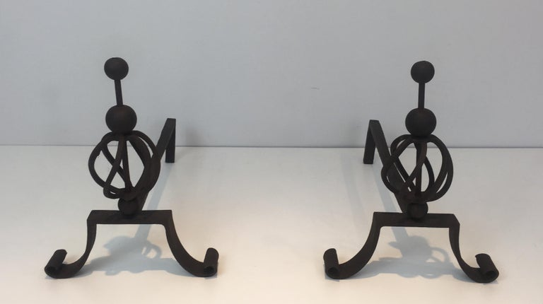 In the Style of Jean Royère. Pair of Wrought Iron Andirons, French For Sale 10