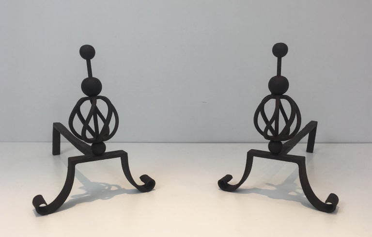 In the Style of Jean Royère. Pair of Wrought Iron Andirons, French For Sale 11