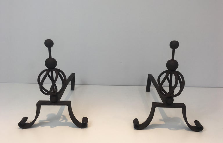 In the Style of Jean Royère. Pair of Wrought Iron Andirons, French For Sale 13