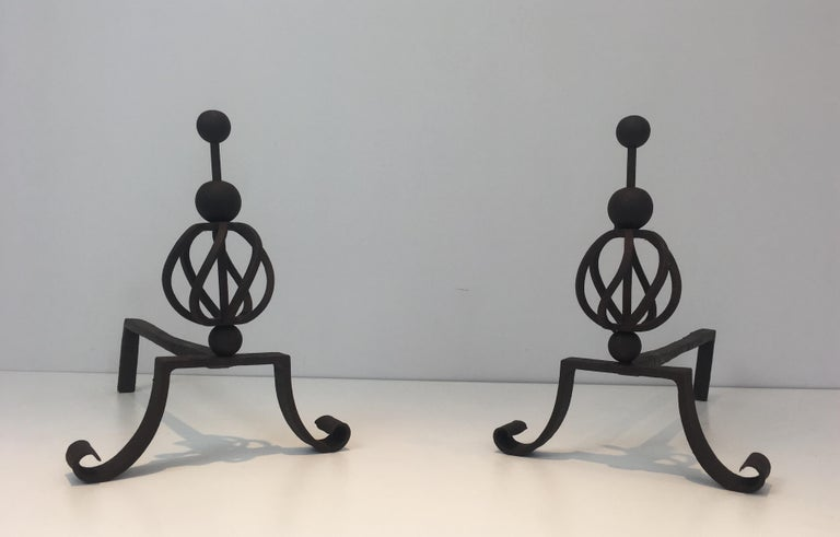 Mid-Century Modern In the Style of Jean Royère. Pair of Wrought Iron Andirons, French For Sale