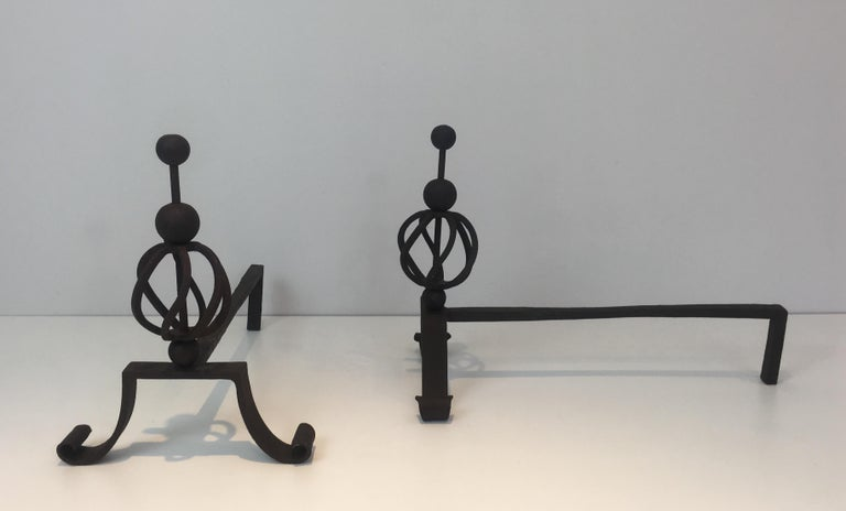Mid-20th Century In the Style of Jean Royère. Pair of Wrought Iron Andirons, French For Sale