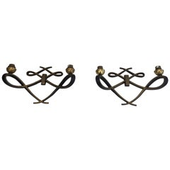 In the Style of Jules Leleu, Pair of Black Lacquered and Brass Design