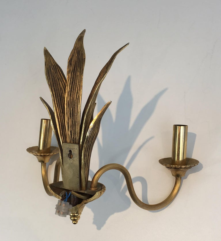 Pair of Bronze and Brass Palm Tree in the Style of Maison Charles For Sale 6