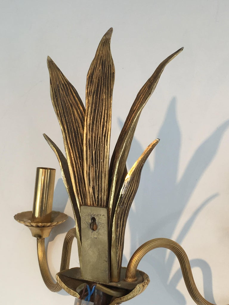 Pair of Bronze and Brass Palm Tree in the Style of Maison Charles For Sale 8
