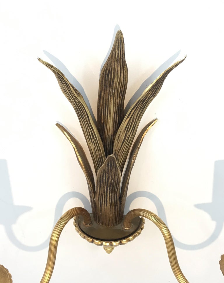 Pair of Bronze and Brass Palm Tree in the Style of Maison Charles For Sale 9