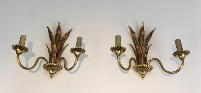 Pair of Bronze and Brass Palm Tree in the Style of Maison Charles For Sale 13