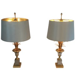 In the Style of Maison Charles. Pair of Chrome and Gold Gilt Nickel Table Lamps