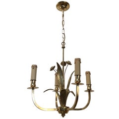 In the Style of Maison Charles, Small Brass Flowers Chandelier, circa 1970