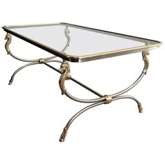 In the style of Maison Jansen. Large Brushed Steel and Brass Coffee Table
