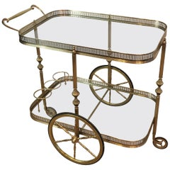 In the Style of Maison Jansen, Neoclassical Brass Bar Cart, French, circa 1940
