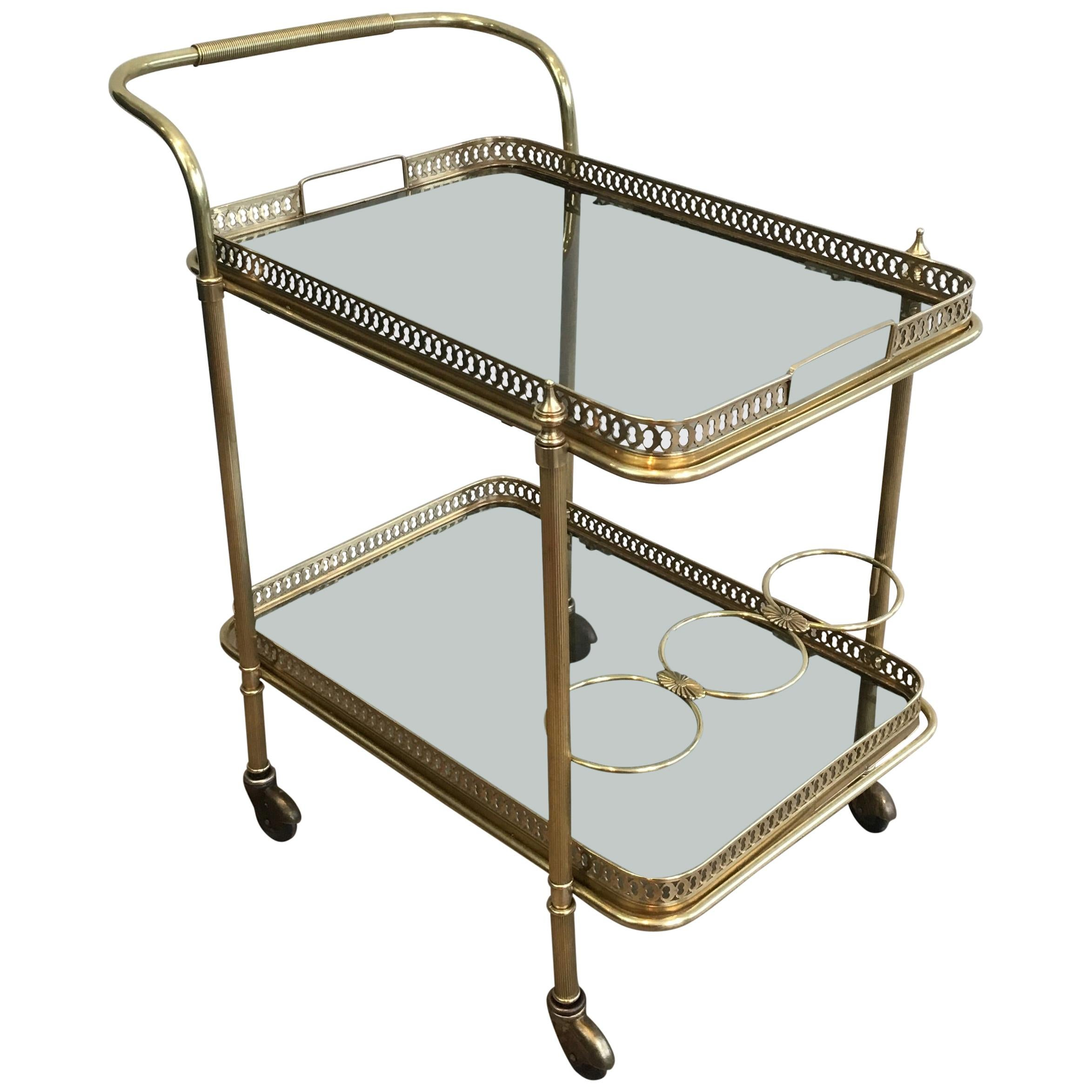 In the Style of Maison Jansen, Neoclassical Brass Bar Cart with Blueish Glass