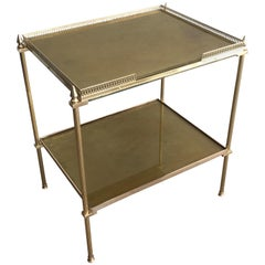 In the Style of Maison Jansen, Neoclassical Brass Side Table