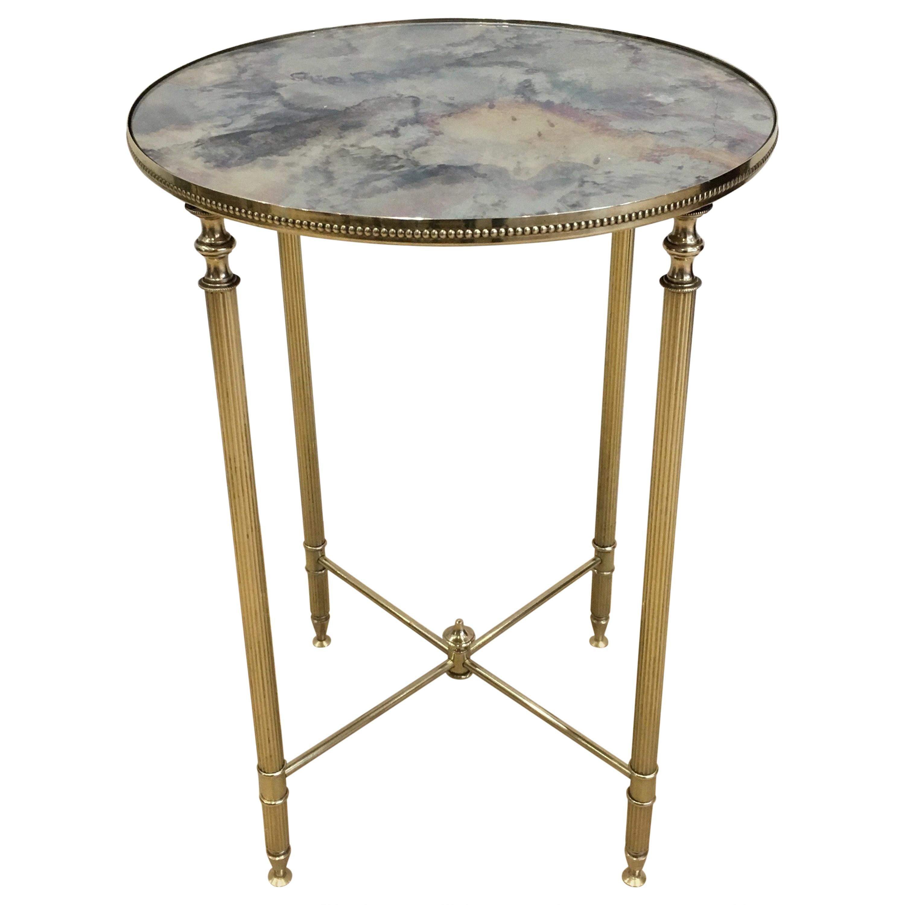 In the Style of Maison Jansen, Neoclassical Style Round Brass Side Table with Or