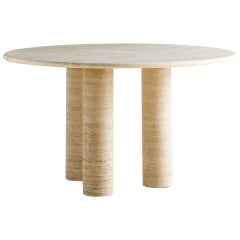 In the Style of Mario Bellini 3 Column Round Travertine Dining Table
