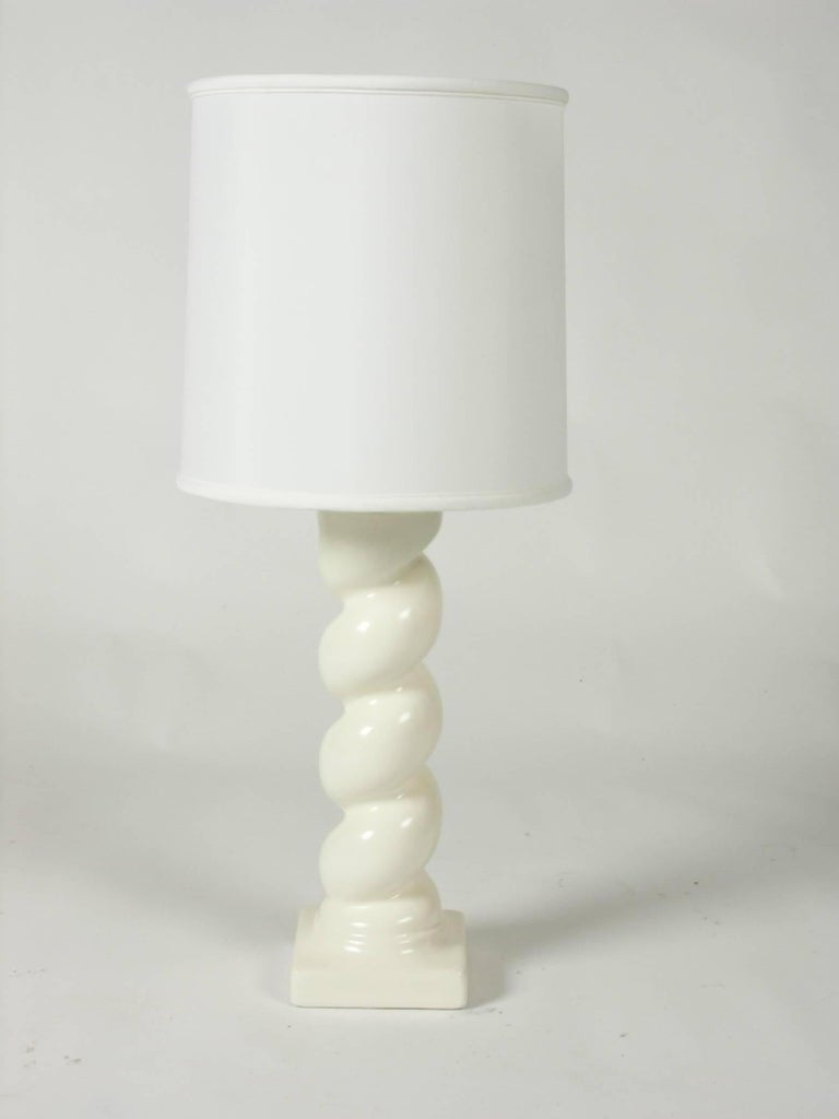 Hollywood Regency In the style of Michael Taylor Plaster Twisted Column Lamp For Sale