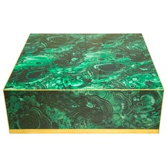 In the Style of Mid-Century Modern Colored Glass and Brass Italian Center Table