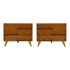 In the Style of Mid-Century Modern Solid Wood Pair of Italian Dressers