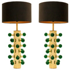 In the Style of Midcentury Green Murano Glass and Brass Base Italian Table Lamps