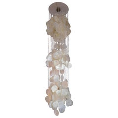 In the Style of Panton Verner Capiz Shell Chandelier or Pendant, 1970s