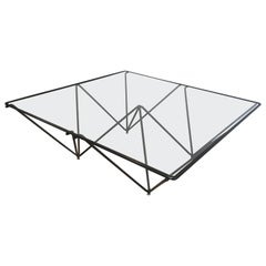 In the Style of Paolo Piva Black Lacquered Pyramidal Coffee Table, Italy
