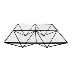 In the Style of Paolo Piva Geometric Metal Base and Glass Top Coffee Table