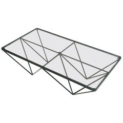 In the Style of Paolo Piva Glass Top and Metal Base Italian Coffee Table