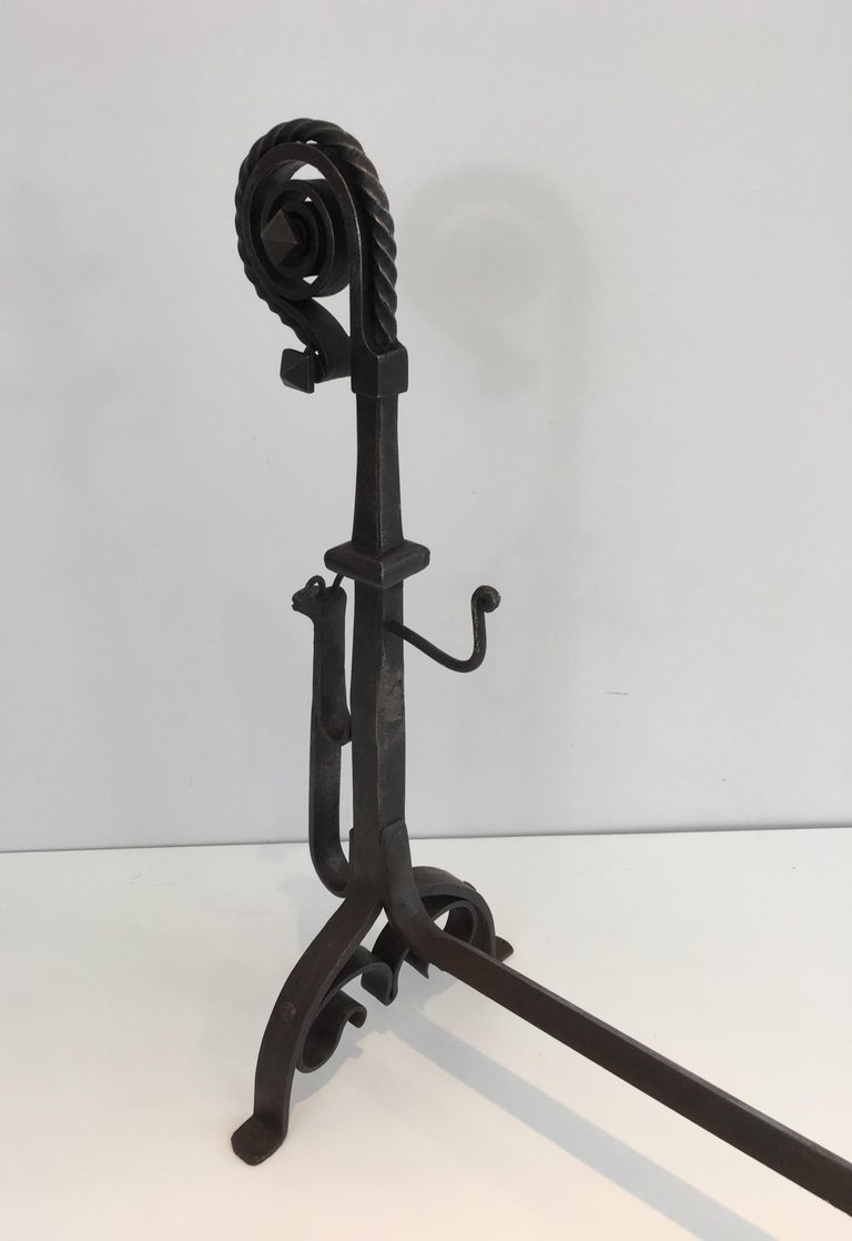 In the Style of Schenck. Pair of Hammered and Wrought Iron Snails Andirons For Sale 4