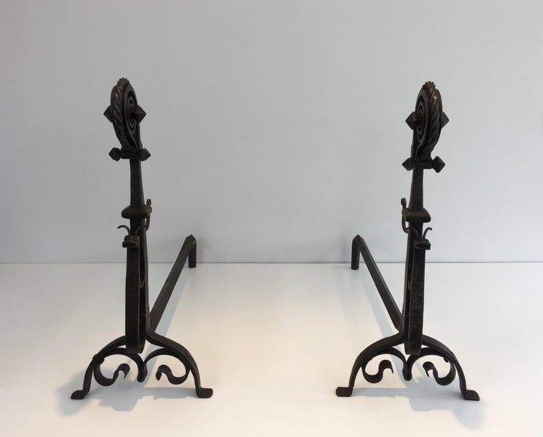 In the Style of Schenck. Pair of Hammered and Wrought Iron Snails Andirons For Sale 14