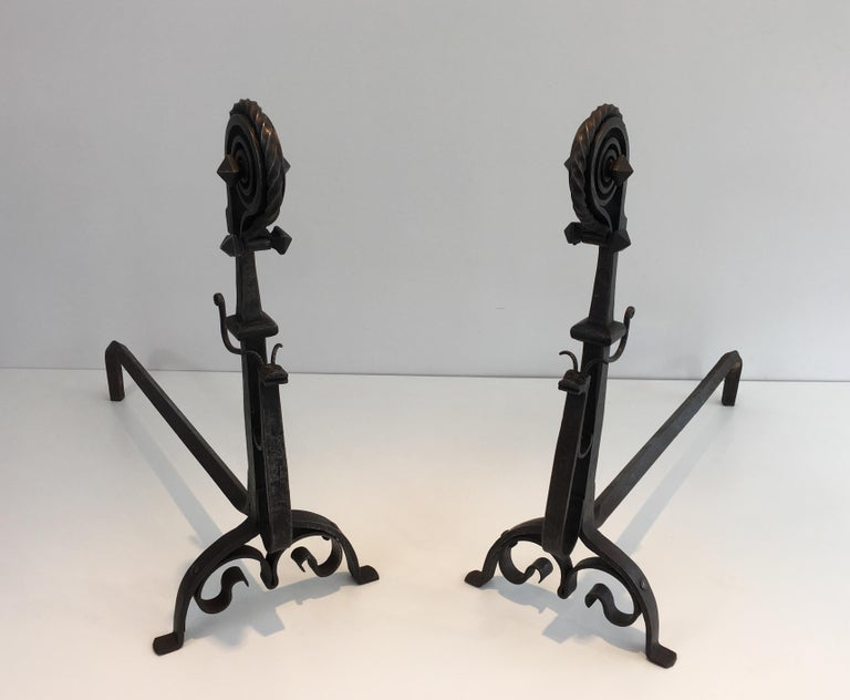 French In the Style of Schenck. Pair of Hammered and Wrought Iron Snails Andirons For Sale