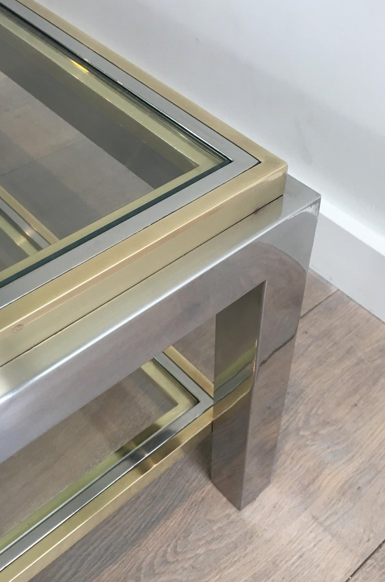 In the Style of Willy Rizzo, Chrome and Brass Coffee Table, French For Sale 5