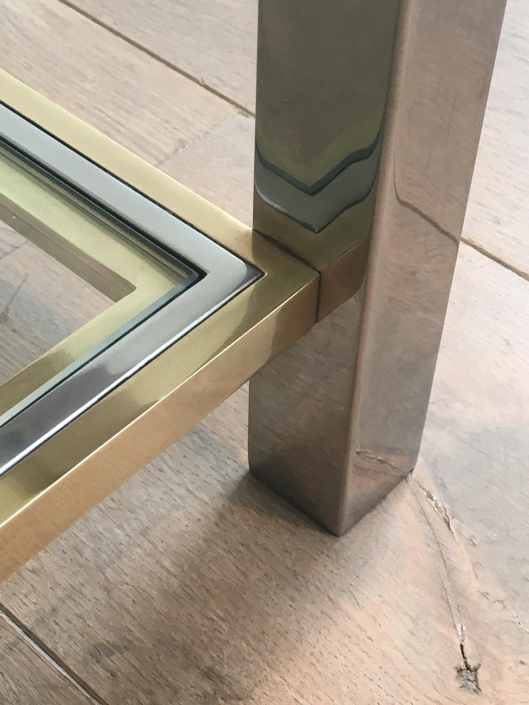 In the Style of Willy Rizzo, Chrome and Brass Coffee Table, French For Sale 7