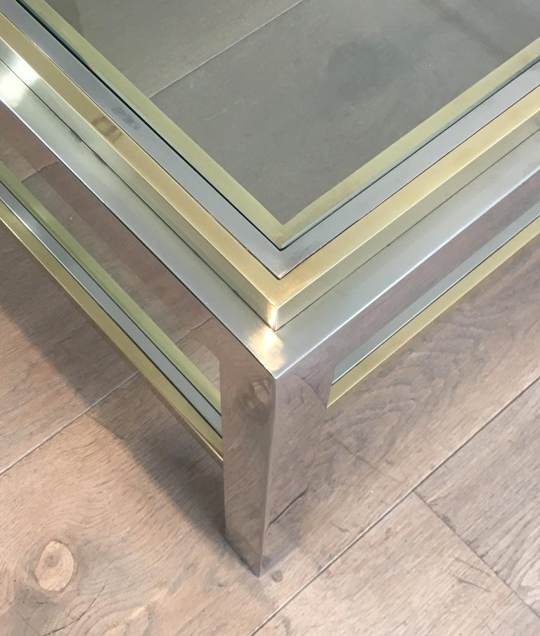 In the Style of Willy Rizzo, Chrome and Brass Coffee Table, French For Sale 8