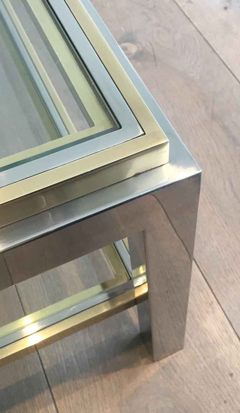 In the Style of Willy Rizzo, Chrome and Brass Coffee Table, French For Sale 9