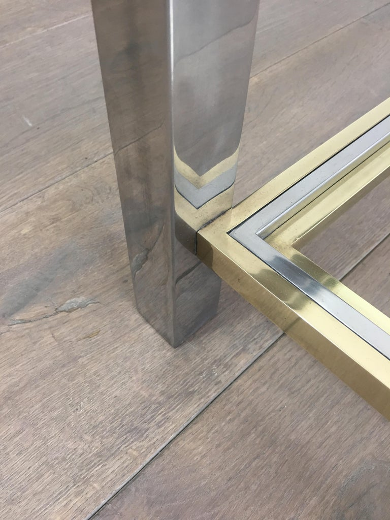 In the Style of Willy Rizzo, Chrome and Brass Coffee Table, French For Sale 10