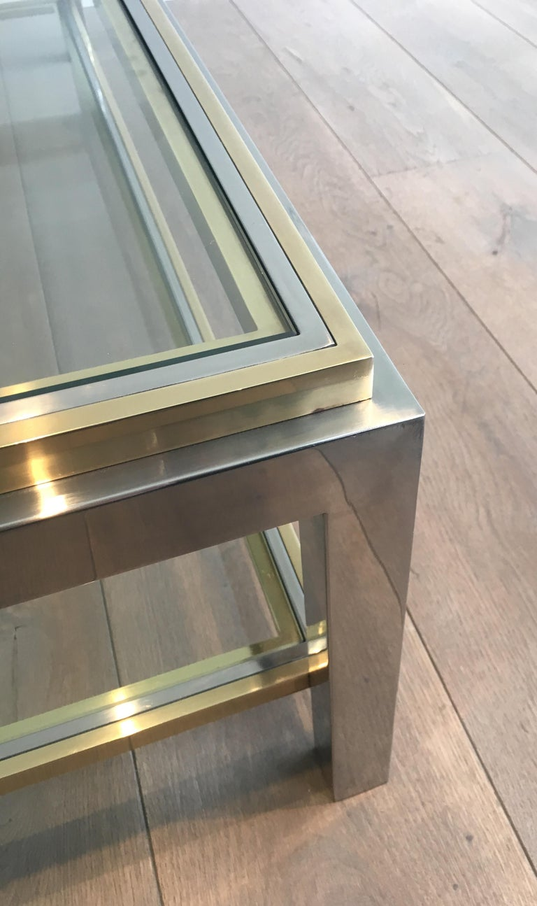 In the Style of Willy Rizzo, Chrome and Brass Coffee Table, French For Sale 11
