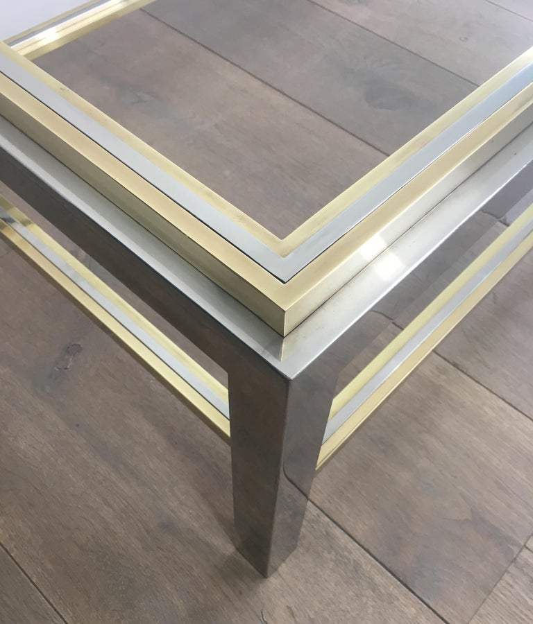 In the Style of Willy Rizzo, Chrome and Brass Coffee Table, French For Sale 12