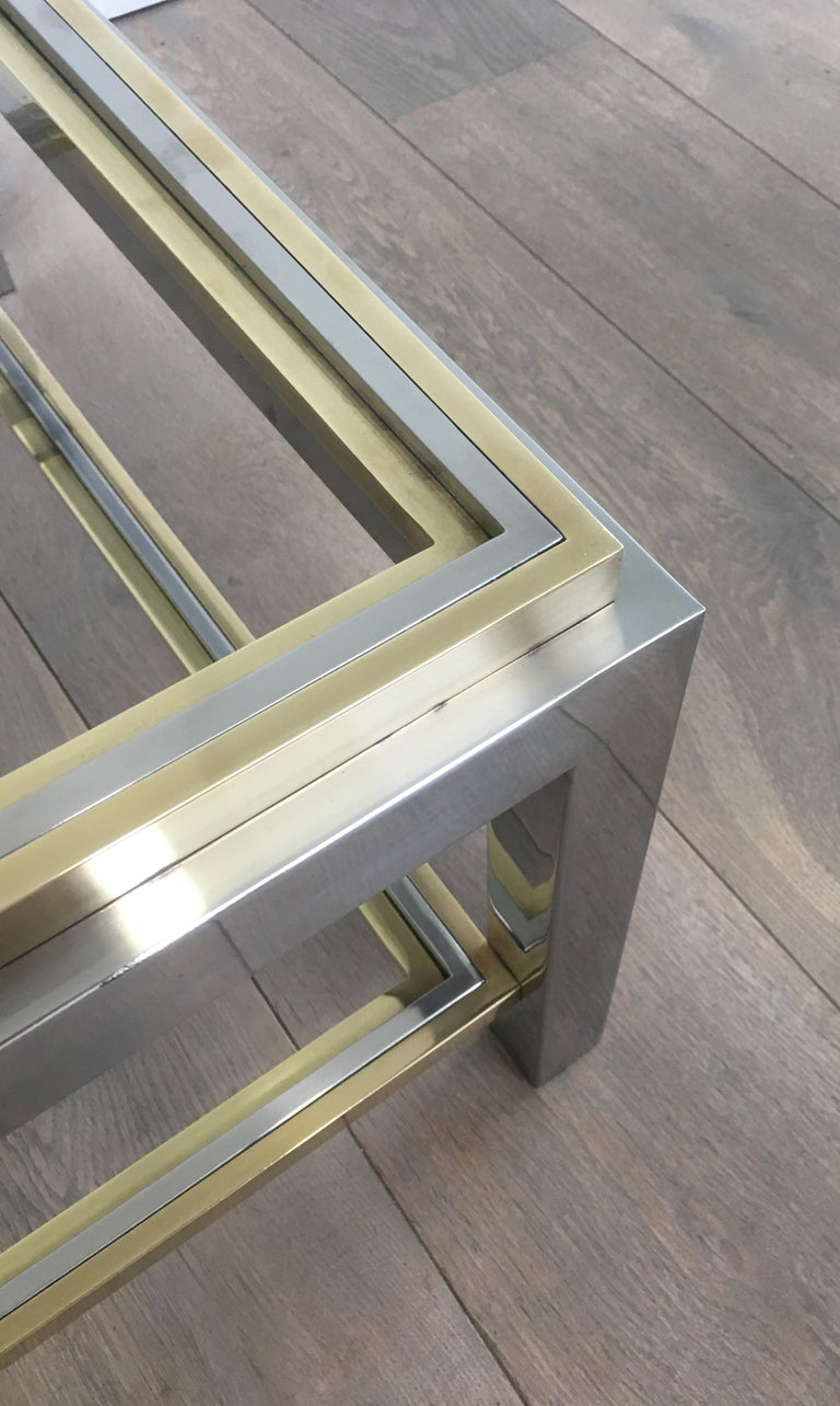 In the Style of Willy Rizzo, Chrome and Brass Coffee Table, French For Sale 13