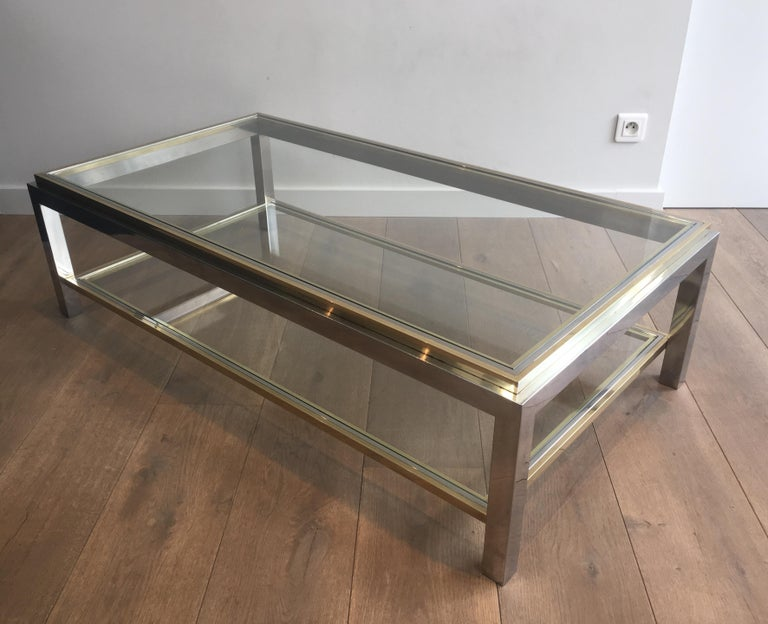 In the Style of Willy Rizzo, Chrome and Brass Coffee Table, French For Sale 15