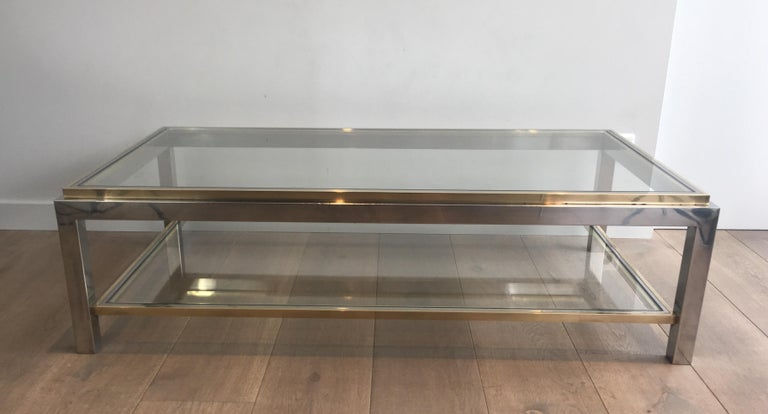 Mid-Century Modern In the Style of Willy Rizzo, Chrome and Brass Coffee Table, French For Sale